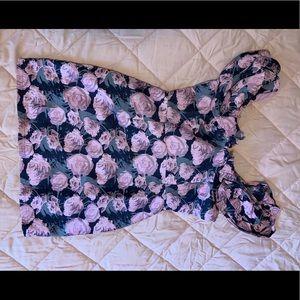 Floral print, denim-like material body con